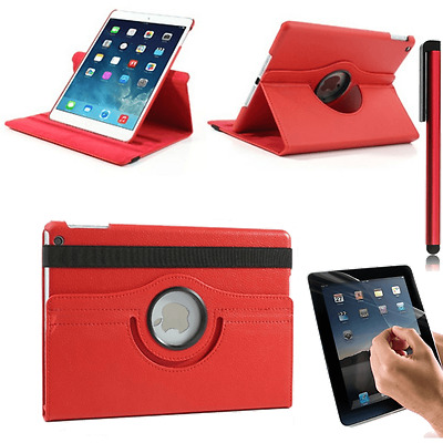 Housse Coque Etui Cuir Rouge Pour iPad 5 Air Rotative 360° + Stylet + Film