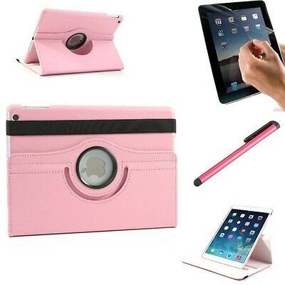Housse Coque Etui Cuir Rose Pour iPad 2/3/4 Rotative 360° + Stylet + Film