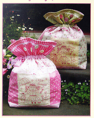 SALE - PATTERN - Little Princess - cute stitchery decorated bag PATTERN