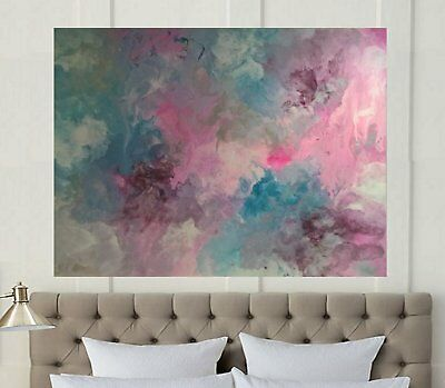 HUGE XXL 1200 x 1000 Pink Teal wine  Modern Painted Abstract Canvas Painting Art