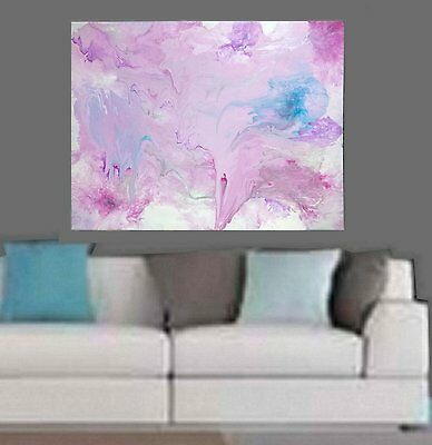 Pink Silver Blue White Modern Hand Painted Abstract Canvas Painting Original Art