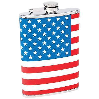 8 oz Stainless Steel Alcohol Hip Flask American Flag Wrap NEW