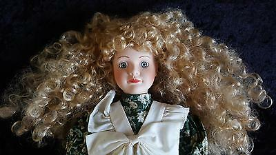 PORCELAIN DOLL FRIZZY RINGLETS in GREEN FLOWER PRINT CALICO & LACE DRESS + STAND