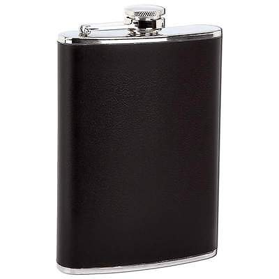 8 oz Stainless Steel Alcohol Hip Flask Black Wrap NEW