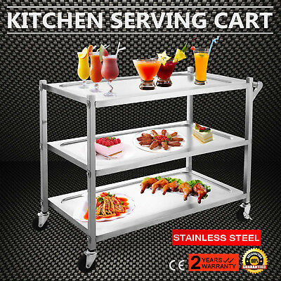 Stainless Steel 3 Tier Kitchen Dining Food Serving Utility Trolley Cart New