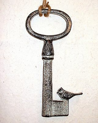 NEW~Large Cast Iron Aged Finish Skeleton Key Wall or Tabletop Decor With Bird