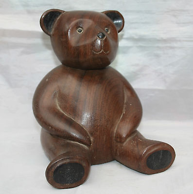 Vintage Hand Carved Wooden Teddy Bear - Sitting  7""