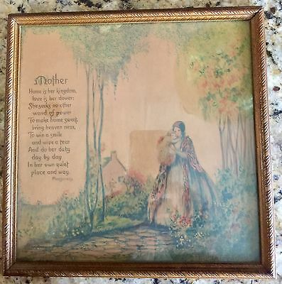 Beautiful Antique 1920s / 1930s Art Deco Print / Poem / Mother