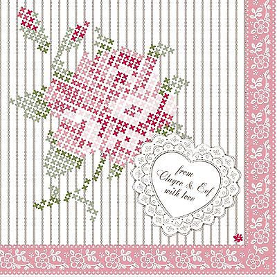 "CROSS STITCH ROSE PINK GREEN STRIPED PACK OF 20 PAPER NAPKINS SERVIETTES 13""x13"""