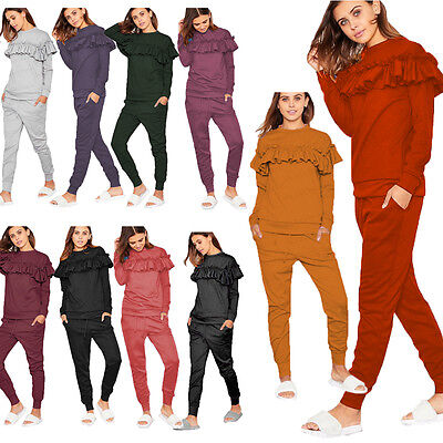 Womens Ladies Ruffle Frill Top Detail Trim Top Bottom Co Ord Set Tracksuit 8-14