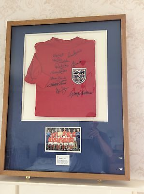 England 1966 World Cup Shirt Signed By 10 Original Players In Oak Frame