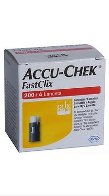 FastClix Accu Chek Lancets 200 + 4 New Box For Blood Glucose Test 2/2018