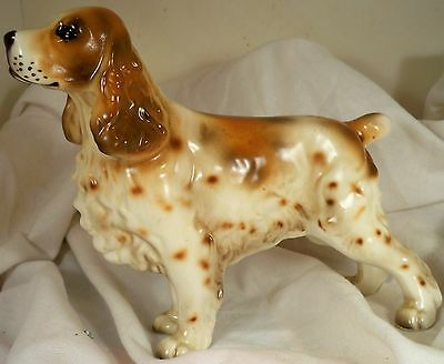 Dog Figurine ENGLISH COCKER SPANIEL Stacked Red/White Porcelain Japan 60's-GREAT