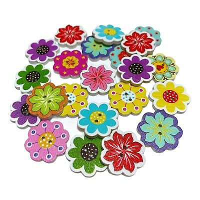50 20mm WOODEN BUTTONS - FLOWER SHAPE - MIXED DESIGNS  - CRAFT - SEW - SCRAPBOOK