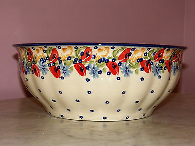 Genuine UNIKAT Hand Made Polish Pottery XL Serving Bowl! Poppy Love Pattern!