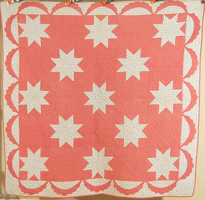 GORGEOUS Vintage 1870's Stars Antique Quilt ~BEAUTIFUL FABRICS & SWAG BORDER!