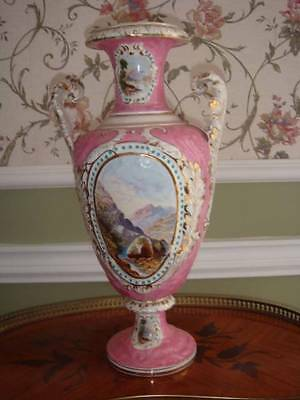 English Hand-Painted Pink Vase With Hand-Painted Landscapes