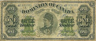 Dominion Of Canada $1 Dollar 1878 ~ Countess Of Dufferin ~ Montreal ~ Nice Vf