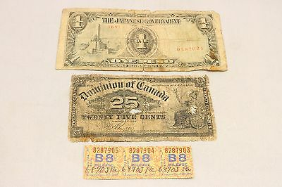 WW2 Japanese 1 One Peso Dominion Of Canada 25 Cent Currency Bank Note