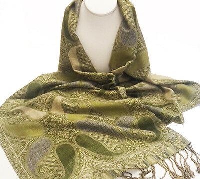 Pashmina Scarf - Olive Green, Beige & Forest Green
