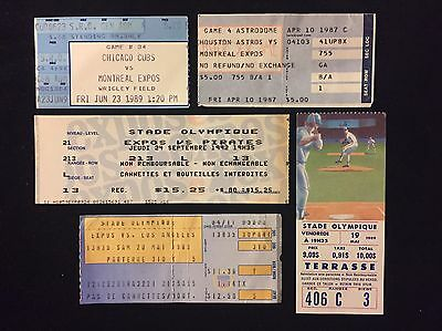 5 Different Montreal Expos Mlb Game Ticket Stubs