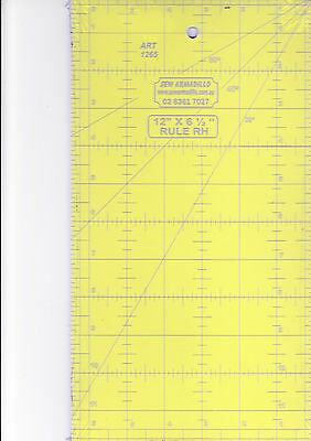 """12"""" x 6.5"""" ruler - for patchwork, crafting - use with rotary cutter"""