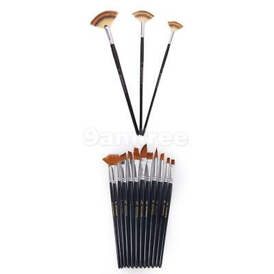 15 ASSORTED Pointed Fan PAINT BRUSHES FOR Artist ACRYLIC OIL WATERCOLOR PAINTING