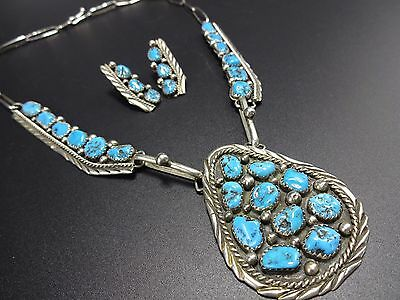 Vintage NAVAJO Sterling Silver & Kingman TURQUOISE Necklace & Earrings SET