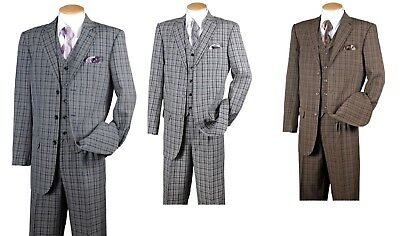 New Men's Fashion Suit 3 Button Pleated Front  Check Design 5802V6