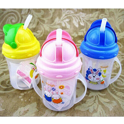 Baby Kids Children Drinking Water Straw Bottle Sippy Suction Cup With Handles