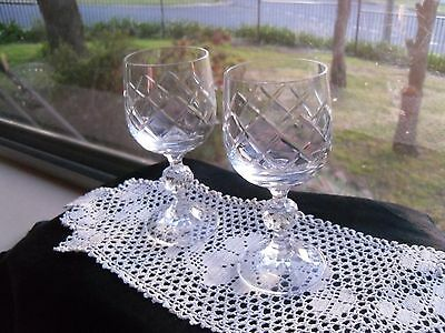 Vintage Czech Lead Crystal Pair Sherry/wine Glasses Fvc