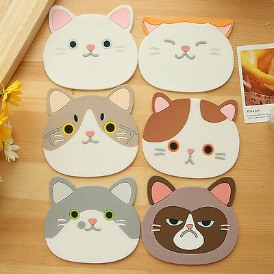 Cute Cat Face Tea Coasters Cup Holder Mat Coffee Drinks Silicon Coaster Pads