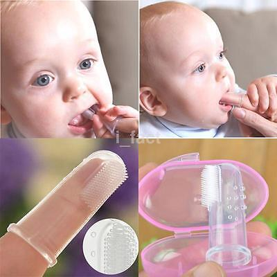 Silicone Finger Toothbrush Baby Training Teether Kids Chewable Soft Safe Brush A