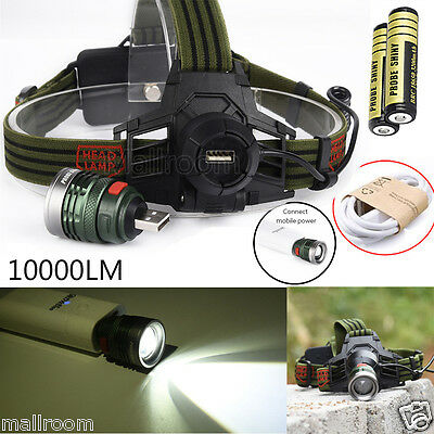 10000Lm XM-L T6 LED Headlamp Headlight Taschenlampe Stirnlampe 2X 18650 USBLABLE