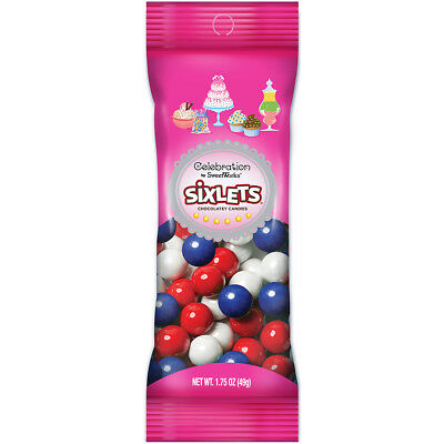 Celebrations By SweetWorks Sixlets(R) 1.75oz-Red, White & Blue