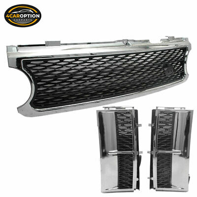 Fits 06-09 Land Range Rover Hse L322 Chrome Black Front Mesh Grille Side Vent