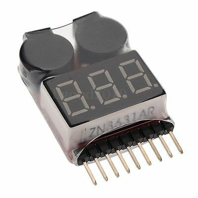 RC Lipo Battery Low Voltage Alarm 1S-8S Buzzer Indicator Checker Tester LED New
