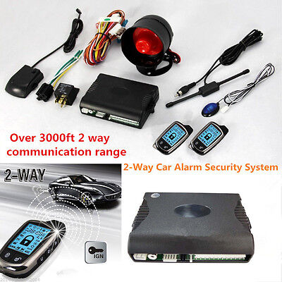 2-Way Car Alarm Security System w/ 2 Pcs LCD Super Long Distance Controlers Kit