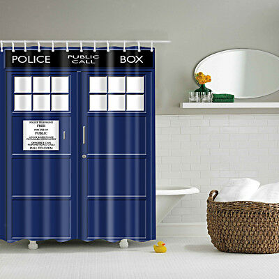 Bathroom Shower Divider Scarf Waterproof Fabric Curtain w/12 Hook Police Box