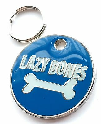Personalised Engraved Lazy Bones Dog/Cat Pet ID Tag 27mm • EUR 5,44