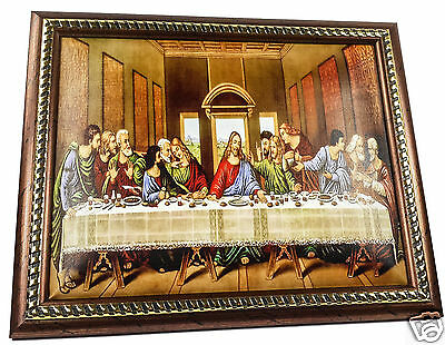 """The Last Supper Jesus Unique Plaque Padded Wall Picture Holy Land 11.4"""" / 29 cm"""