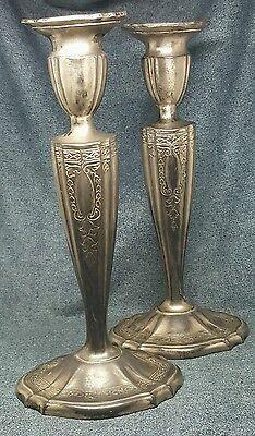 Vintage Rogers Silverplate Candlesticks - lot d2d