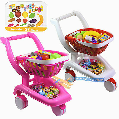 2 in 1 Deluxe Shopping Cart Trolley Basket Vegetables Fruits Play Food Toy