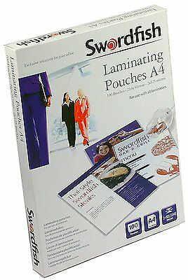 Swordfish A4 Laminating Pouches Premium Crystal Clear 250 Micron - 100 Pack