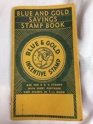 Vintage 1930's Or 40's Blue And Gold Savings Stamp Book