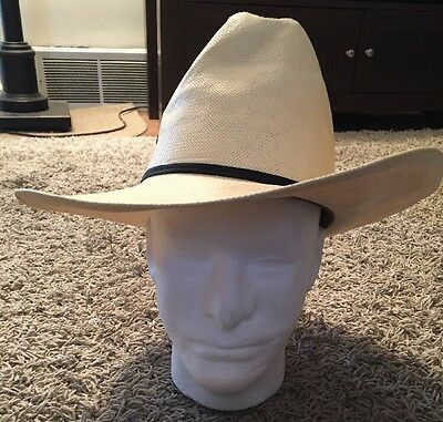 c2764f9373b92 RESISTOL Cream Straw Mens Hat Black Leather Band Size 7 1 8- 57 Long Oval  5XXXXX.