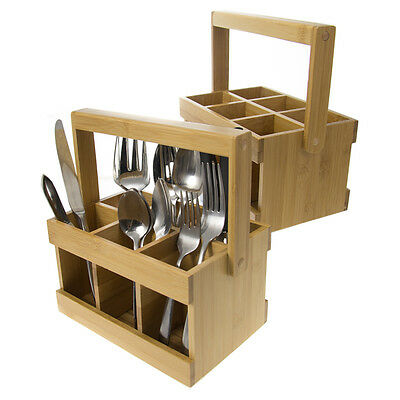 Set Of 2 Gibson Home Bamboo Flatware Storage Caddies With Handles For Silverware