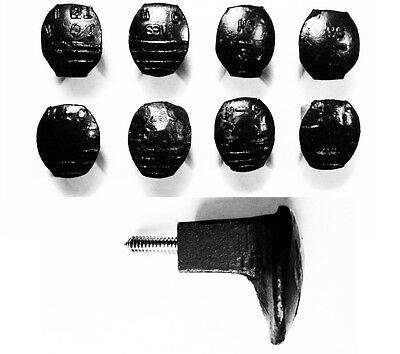 8 Black Easy Screw Railroad Spike Knobs Door Pulls Cupboard Antique Vintage Old