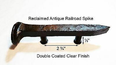 "2-3/4"" Left Sealed Railroad Spike Dresser Drawer Cabinet Handle Antique Vintage"