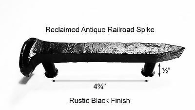 "4-3/4"" Left Black Railroad Spike Door Handle Pull Gate Antique Vintage"